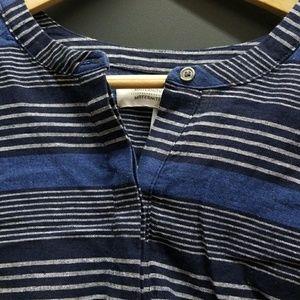 Linen Maternity tunic,  blue & white stripes, L